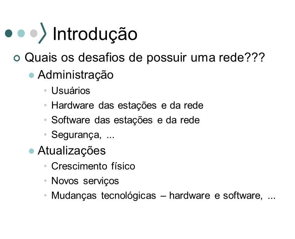 Introdução Quais os desafios de possuir uma rede??? Administração Usuários Hardware das estações e da rede Software das estações e da rede Segurança,.