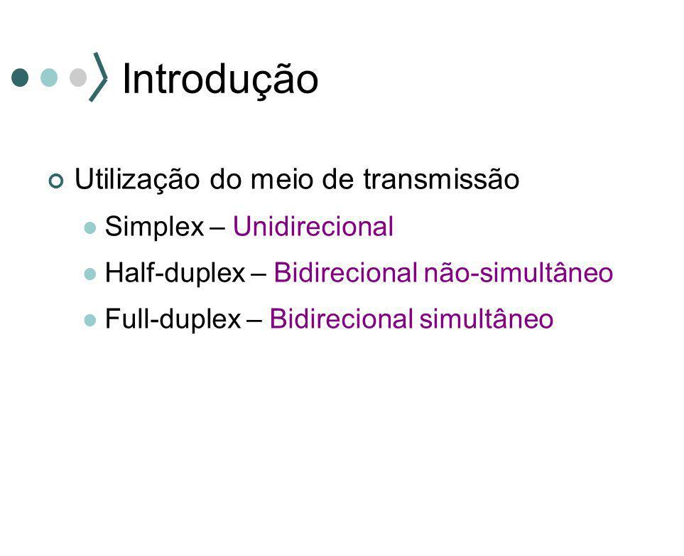 Introdução Utilização do meio de transmissão Simplex – Unidirecional Half-duplex – Bidirecional não-simultâneo Full-duplex – Bidirecional simultâneo