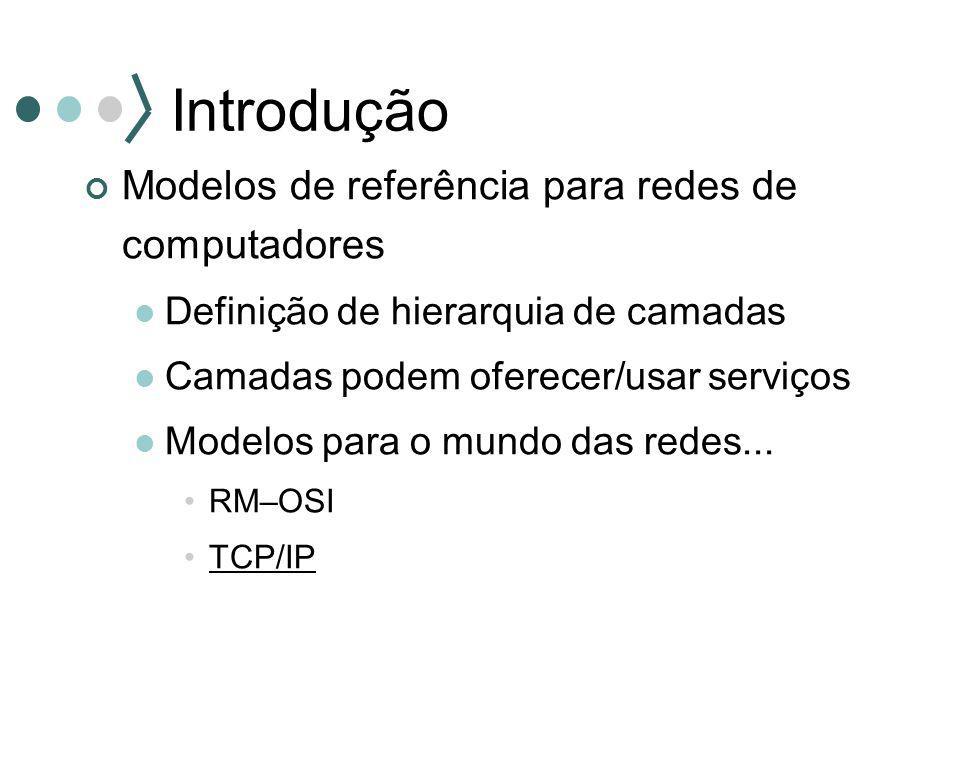 Introdução Modelos de referência para redes de computadores Definição de hierarquia de camadas Camadas podem oferecer/usar serviços Modelos para o mun