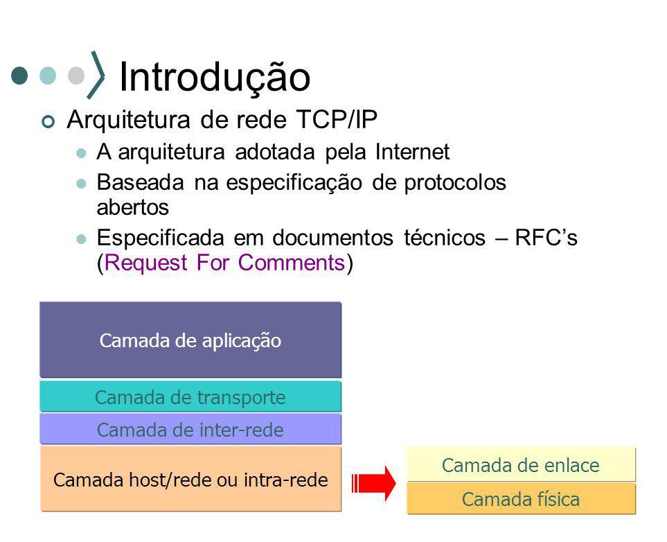 Introdução Arquitetura de rede TCP/IP A arquitetura adotada pela Internet Baseada na especificação de protocolos abertos Especificada em documentos té