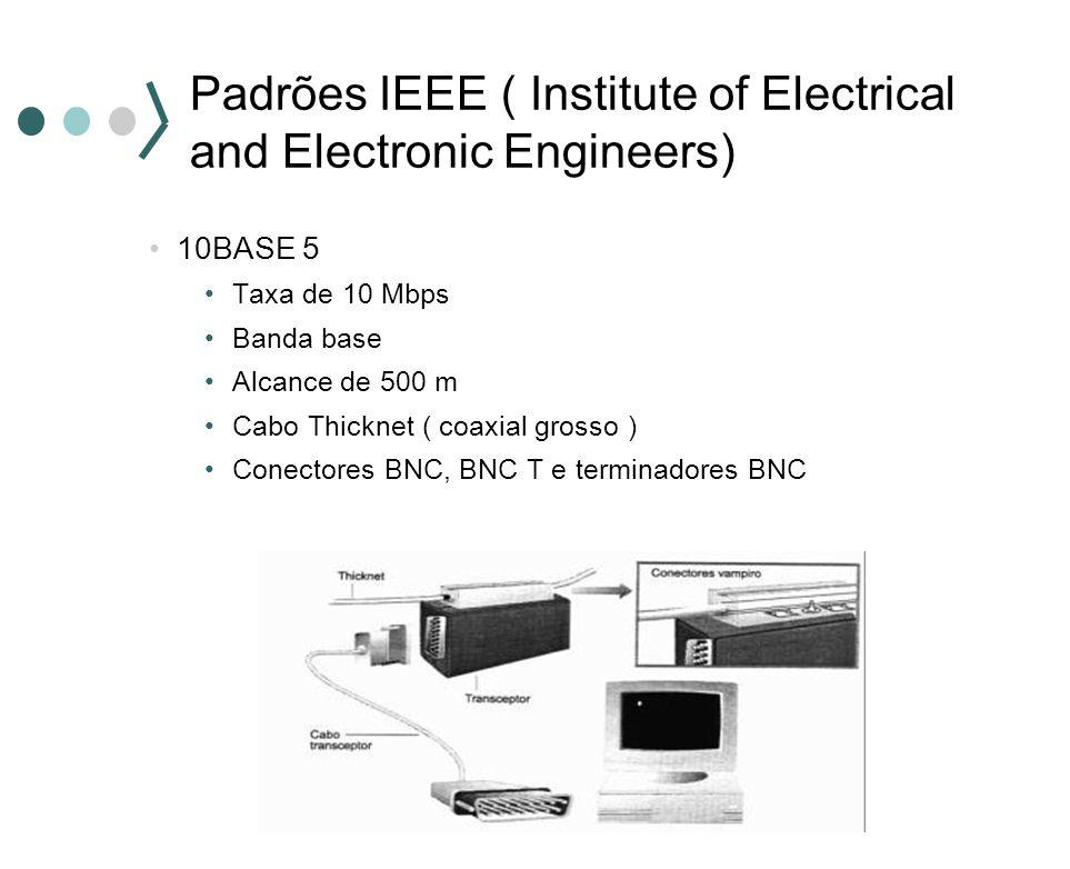 10BASE 5 Taxa de 10 Mbps Banda base Alcance de 500 m Cabo Thicknet ( coaxial grosso ) Conectores BNC, BNC T e terminadores BNC