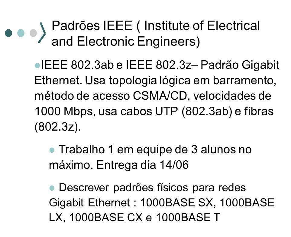 Padrões IEEE ( Institute of Electrical and Electronic Engineers) IEEE 802.3ab e IEEE 802.3z– Padrão Gigabit Ethernet.