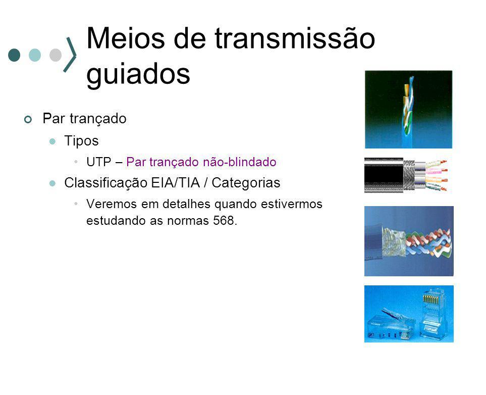 Meios de transmissão guiados Par trançado Tipos UTP – Par trançado não-blindado Classificação EIA/TIA / Categorias Veremos em detalhes quando estiverm