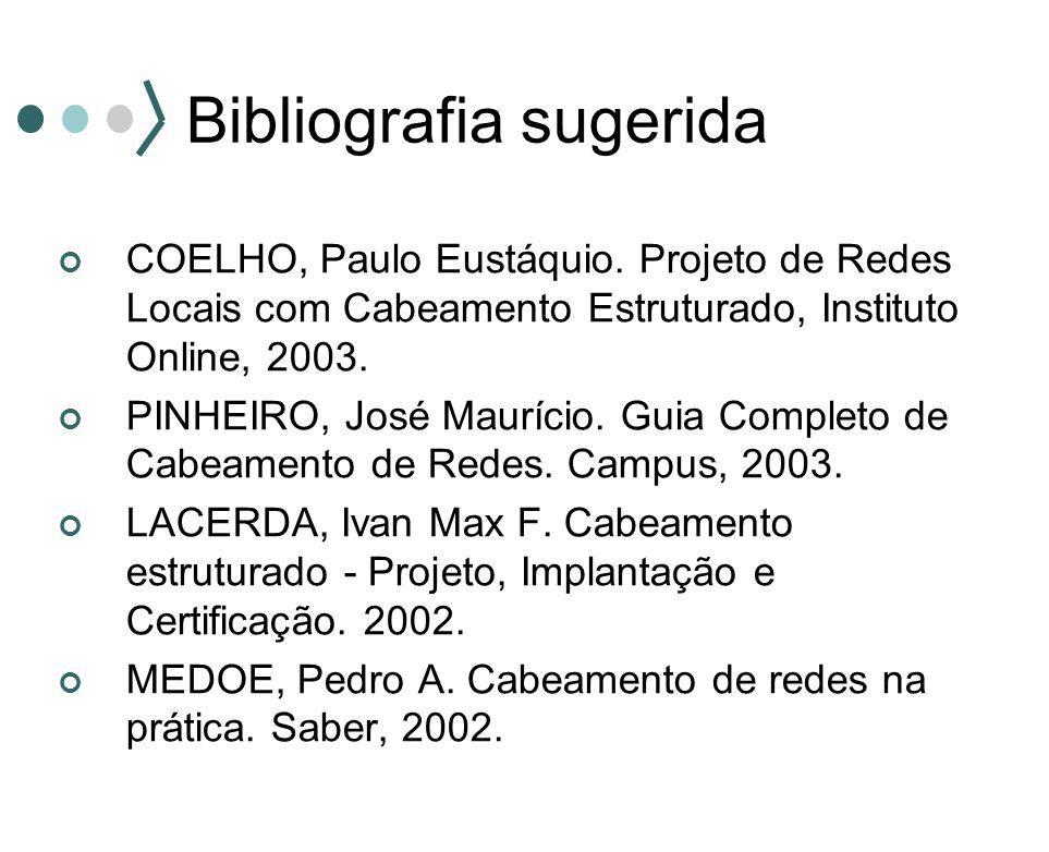 Bibliografia sugerida COELHO, Paulo Eustáquio. Projeto de Redes Locais com Cabeamento Estruturado, Instituto Online, 2003. PINHEIRO, José Maurício. Gu