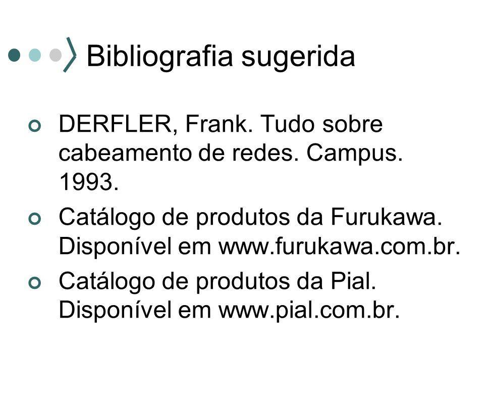 Bibliografia sugerida DERFLER, Frank. Tudo sobre cabeamento de redes. Campus. 1993. Catálogo de produtos da Furukawa. Disponível em www.furukawa.com.b