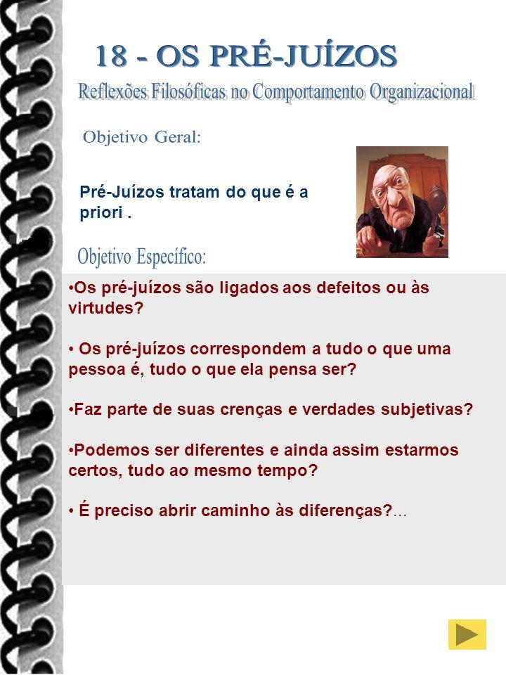 29 Pré-Juízos tratam do que é a priori.Os pré-juízos são ligados aos defeitos ou às virtudes.