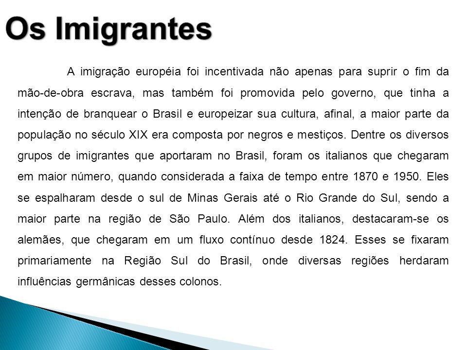 A imigração européia foi incentivada não apenas para suprir o fim da mão-de-obra escrava, mas também foi promovida pelo governo, que tinha a intenção