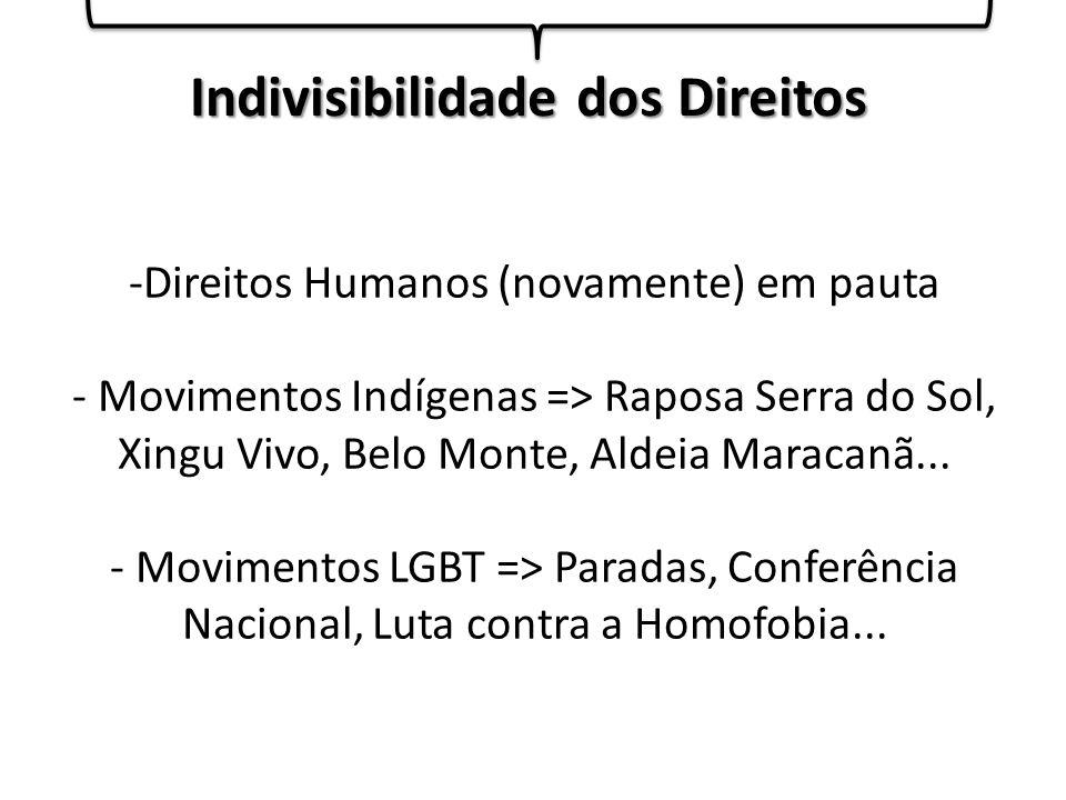 -Direitos Humanos (novamente) em pauta - Movimentos Indígenas => Raposa Serra do Sol, Xingu Vivo, Belo Monte, Aldeia Maracanã...