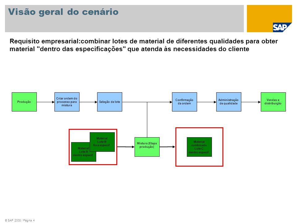 © SAP 2008 / Página 5 Background empresarial Neste cenário, dois lotes do mesmo número de material, sendo um dentro das especificações (Grau de qualidade A) e um fora das especificações (Grau de qualidade B) são misturados em um recurso separado para produzir o mesmo número de material com um lote dentro das especificações (Grau de qualidade A).