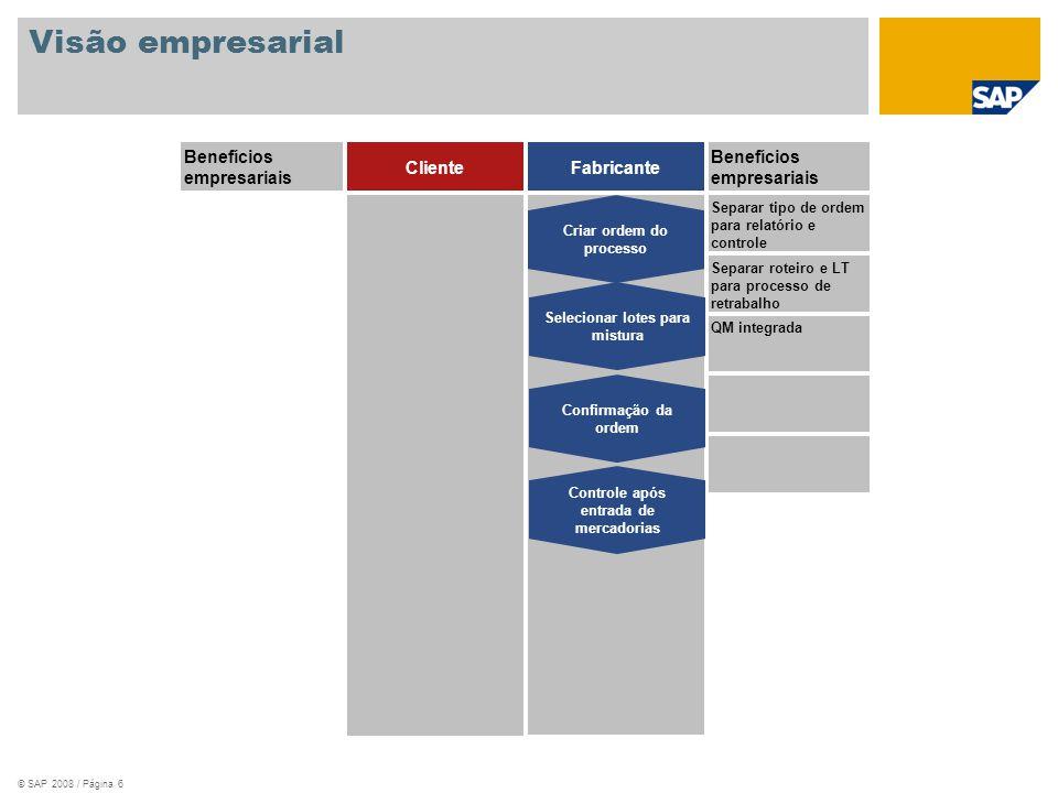 © SAP 2008 / Página 7 SAP ERP Criar/liberar ordem de processo (Tipo de ordem YQ06) Confirmação da ordem de processo Entrada de resultados CH-2200 Grau de qualidade B Decisão de utilização CH-2200 Grau de qualidade A CH-2200 Grau de qualidade A Novo nº de lote automaticamente Retirada de material Registrar entrada de mercadorias Processo empresarial