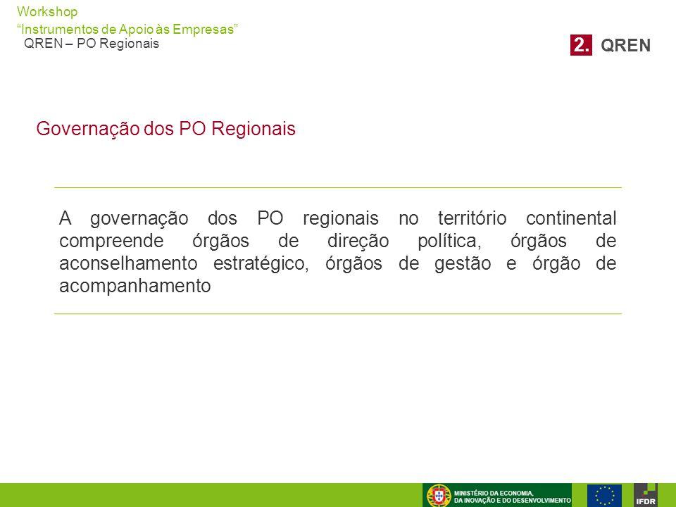 """Workshop """"Instrumentos de Apoio às Empresas"""" QREN – PO Regionais A governação dos PO regionais no território continental compreende órgãos de direção"""