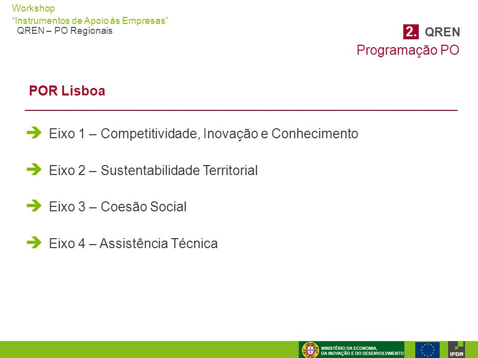 """Workshop """"Instrumentos de Apoio às Empresas"""" QREN – PO Regionais  Eixo 1 – Competitividade, Inovação e Conhecimento  Eixo 2 – Sustentabilidade Terri"""