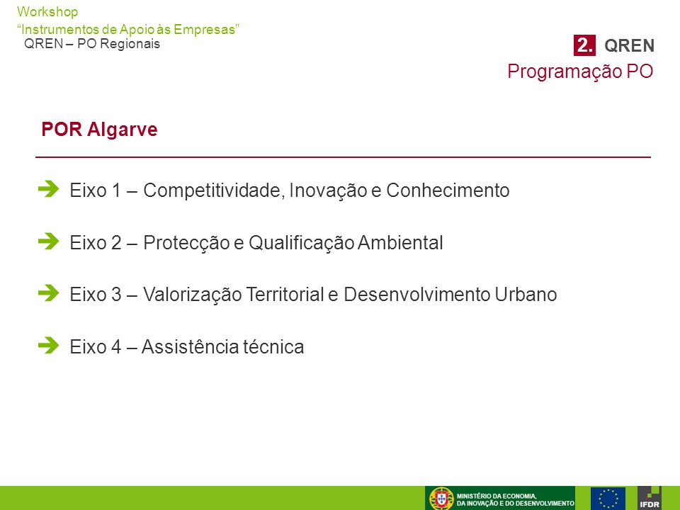 """Workshop """"Instrumentos de Apoio às Empresas"""" QREN – PO Regionais  Eixo 1 – Competitividade, Inovação e Conhecimento  Eixo 2 – Protecção e Qualificaç"""
