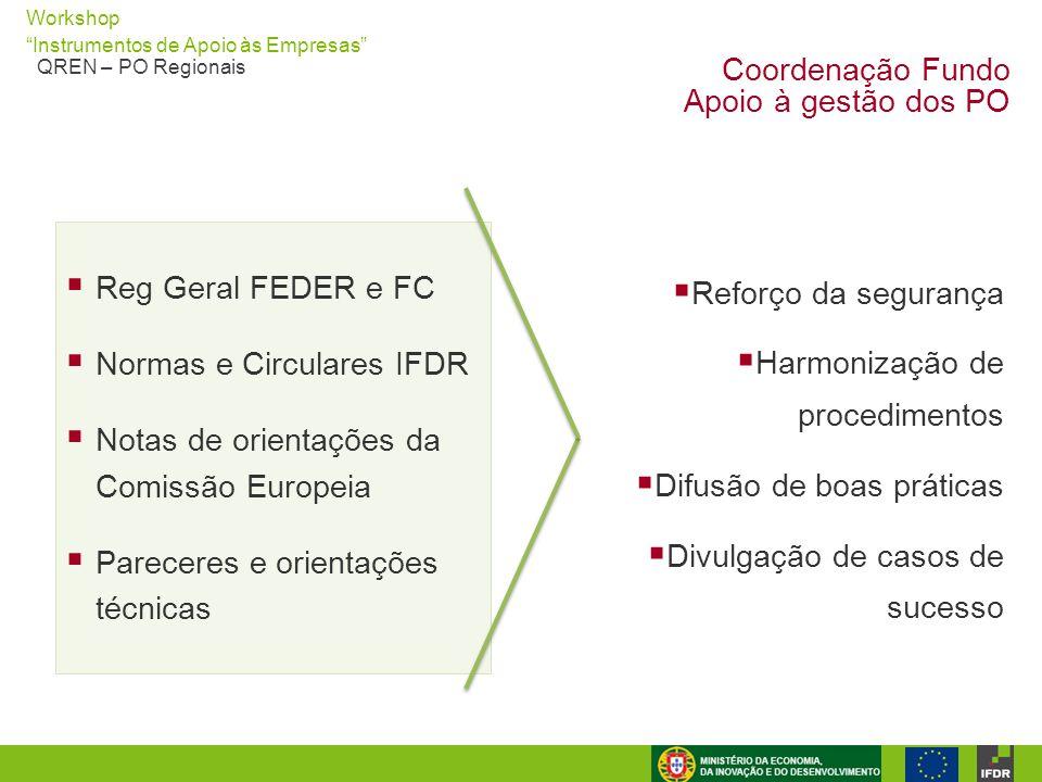 """Workshop """"Instrumentos de Apoio às Empresas"""" QREN – PO Regionais Coordenação Fundo Apoio à gestão dos PO  Reg Geral FEDER e FC  Normas e Circulares"""