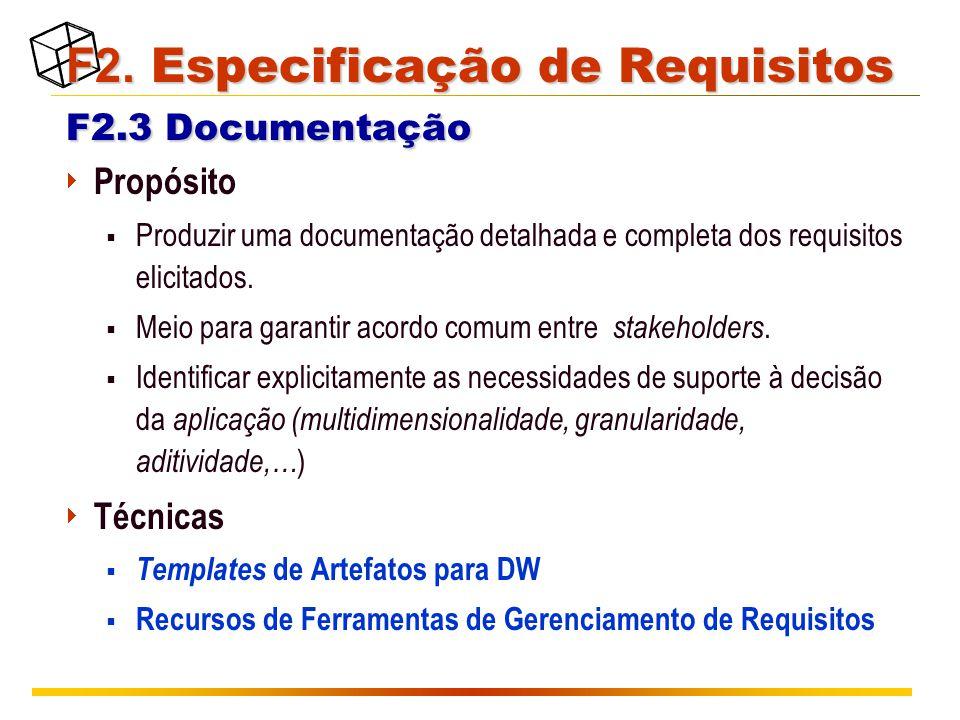 F2. Especificação de Requisitos F2.3 Documentação F2. Especificação de Requisitos F2.3 Documentação  Propósito  Produzir uma documentação detalhada