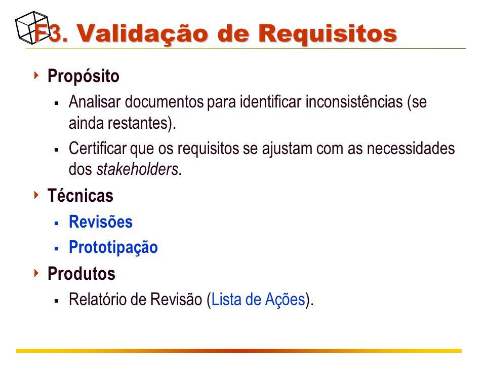 F3. Validação de Requisitos  Propósito  Analisar documentos para identificar inconsistências (se ainda restantes).  Certificar que os requisitos se
