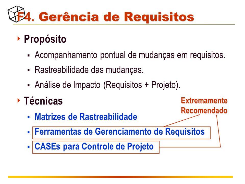 F4. Gerência de Requisitos  Propósito  Acompanhamento pontual de mudanças em requisitos.  Rastreabilidade das mudanças.  Análise de Impacto (Requi