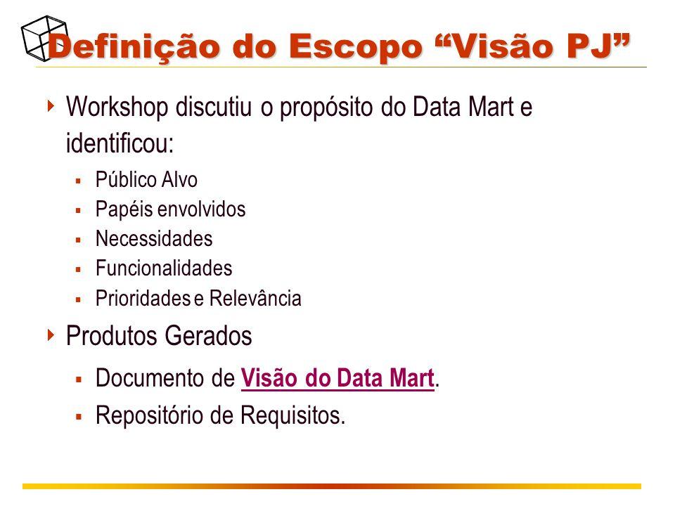 Definição do Escopo Visão PJ  Workshop discutiu o propósito do Data Mart e identificou:  Público Alvo  Papéis envolvidos  Necessidades  Funcionalidades  Prioridades e Relevância  Produtos Gerados  Documento de Visão do Data Mart.