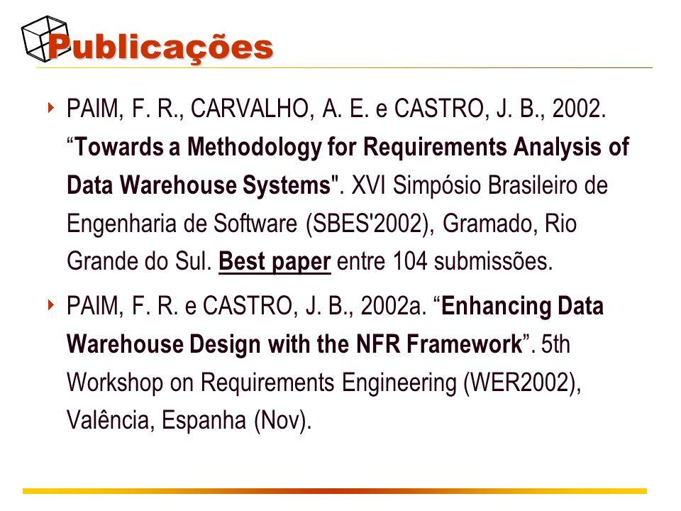 """Publicações  PAIM, F. R., CARVALHO, A. E. e CASTRO, J. B., 2002. """" Towards a Methodology for Requirements Analysis of Data Warehouse Systems"""