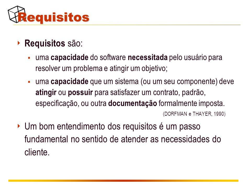Requisitos  Requisitos são:  uma capacidade do software necessitada pelo usuário para resolver um problema e atingir um objetivo;  uma capacidade que um sistema (ou um seu componente) deve atingir ou possuir para satisfazer um contrato, padrão, especificação, ou outra documentação formalmente imposta.