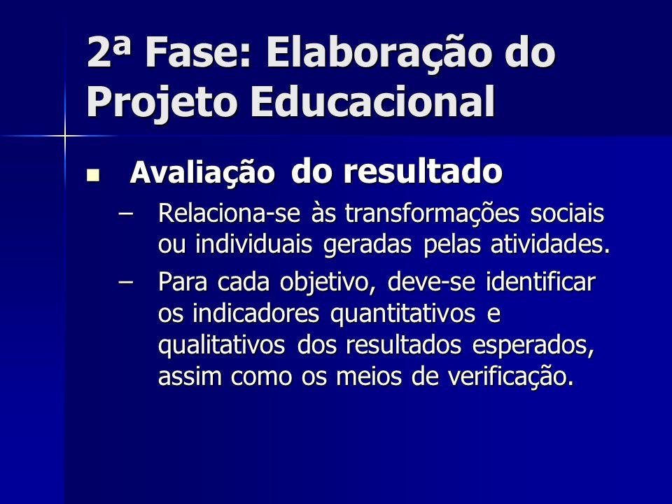 2ª Fase: Elaboração do Projeto Educacional Avaliação do resultado Avaliação do resultado –Relaciona-se às transformações sociais ou individuais gerada