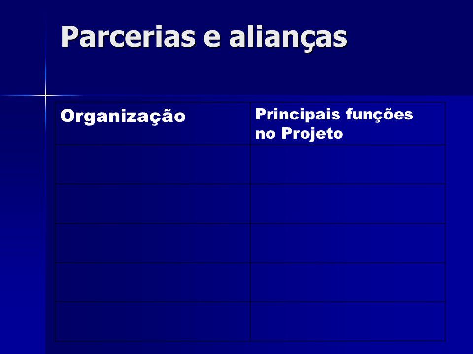 Parcerias e alianças Organização Principais funções no Projeto
