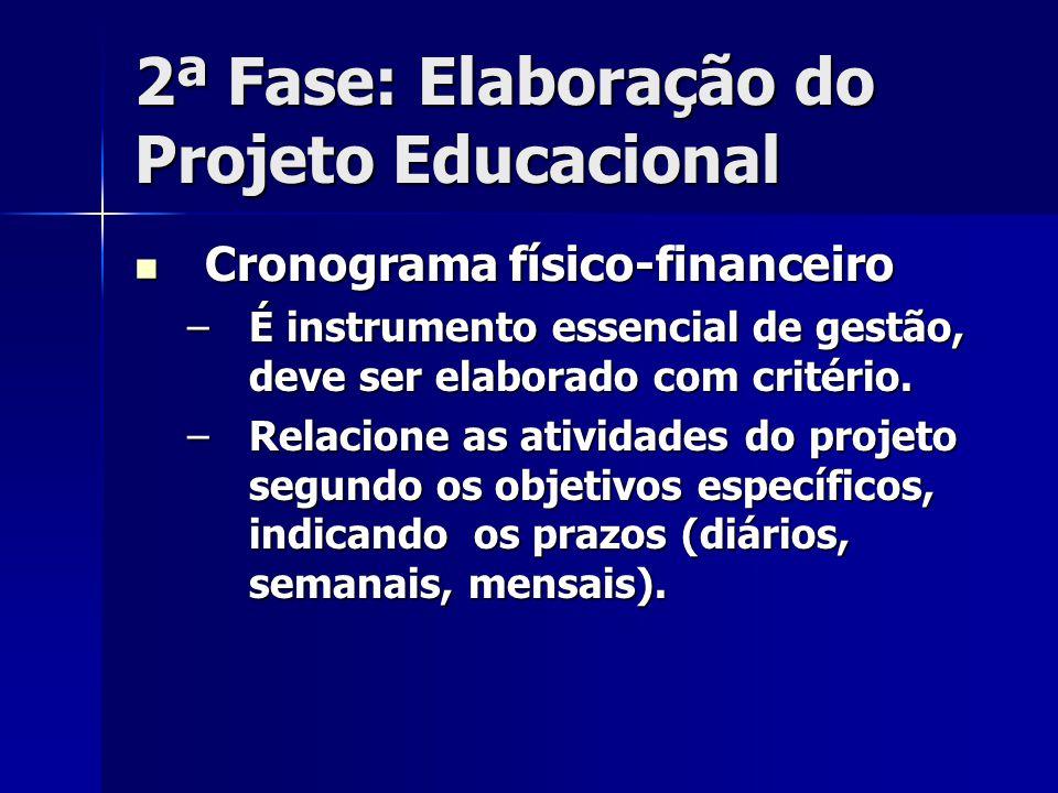 2ª Fase: Elaboração do Projeto Educacional Cronograma físico-financeiro Cronograma físico-financeiro –É instrumento essencial de gestão, deve ser elab