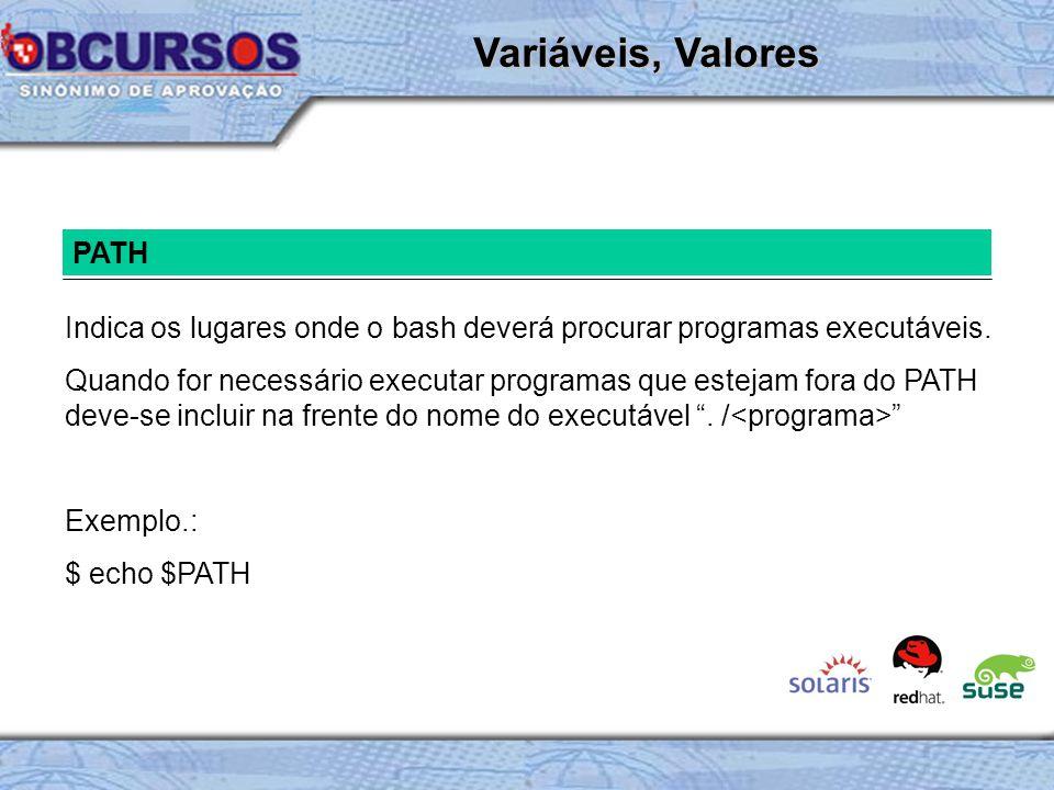 PATH Indica os lugares onde o bash deverá procurar programas executáveis.