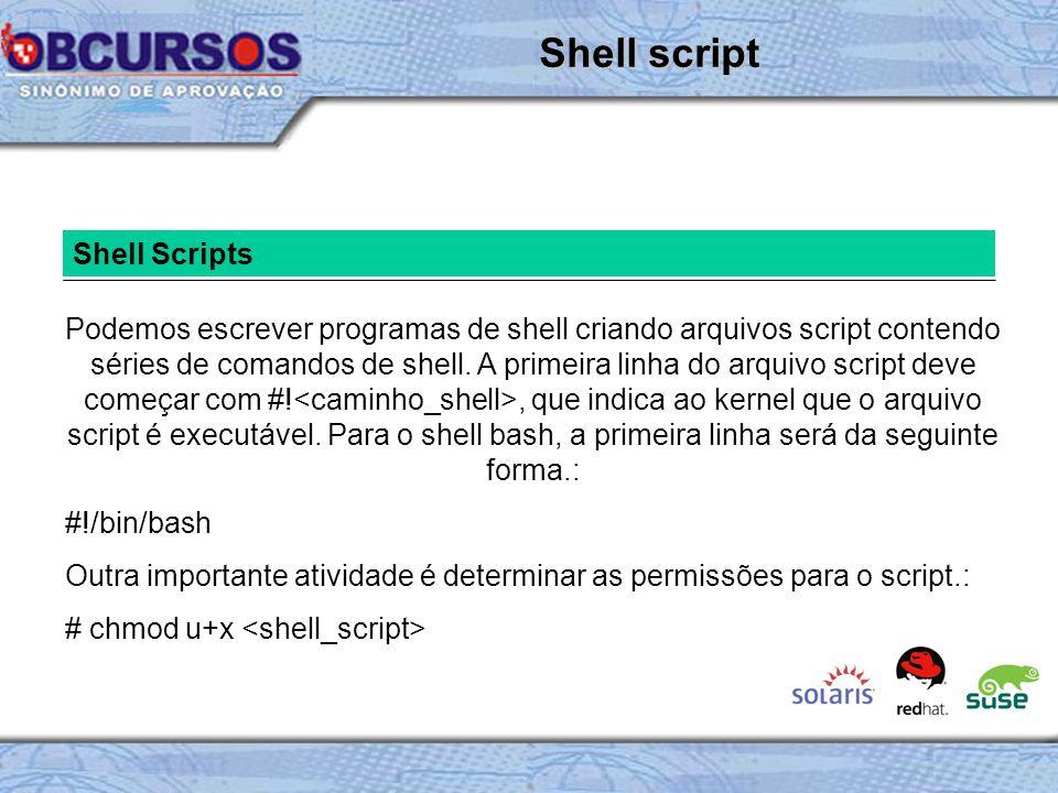Shell Scripts Podemos escrever programas de shell criando arquivos script contendo séries de comandos de shell.