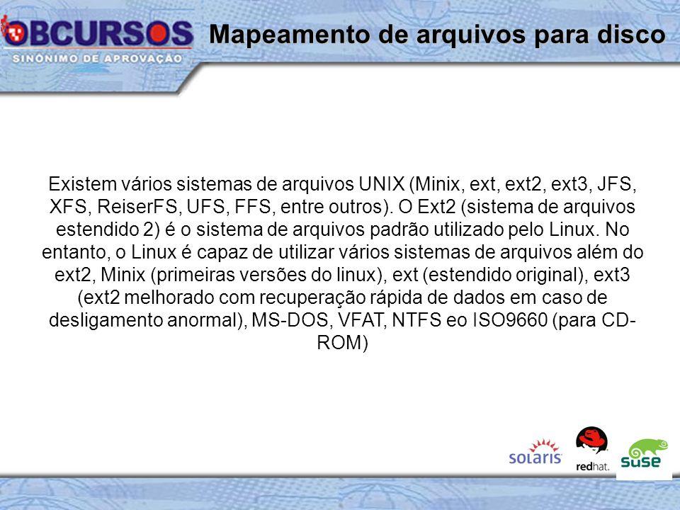 Existem vários sistemas de arquivos UNIX (Minix, ext, ext2, ext3, JFS, XFS, ReiserFS, UFS, FFS, entre outros).