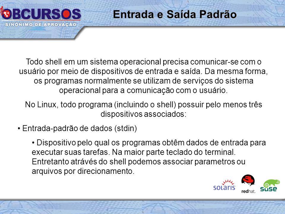 Todo shell em um sistema operacional precisa comunicar-se com o usuário por meio de dispositivos de entrada e saída.