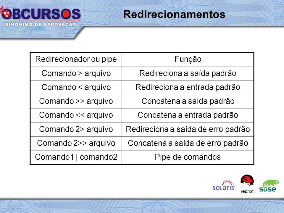 Redirecionador ou pipeFunção Comando > arquivoRedireciona a saída padrão Comando < arquivoRedireciona a entrada padrão Comando >> arquivoConcatena a saída padrão Comando << arquivoConcatena a entrada padrão Comando 2> arquivoRedireciona a saída de erro padrão Comando 2>> arquivoConcatena a saída de erro padrão Comando1 | comando2Pipe de comandos Redirecionamentos
