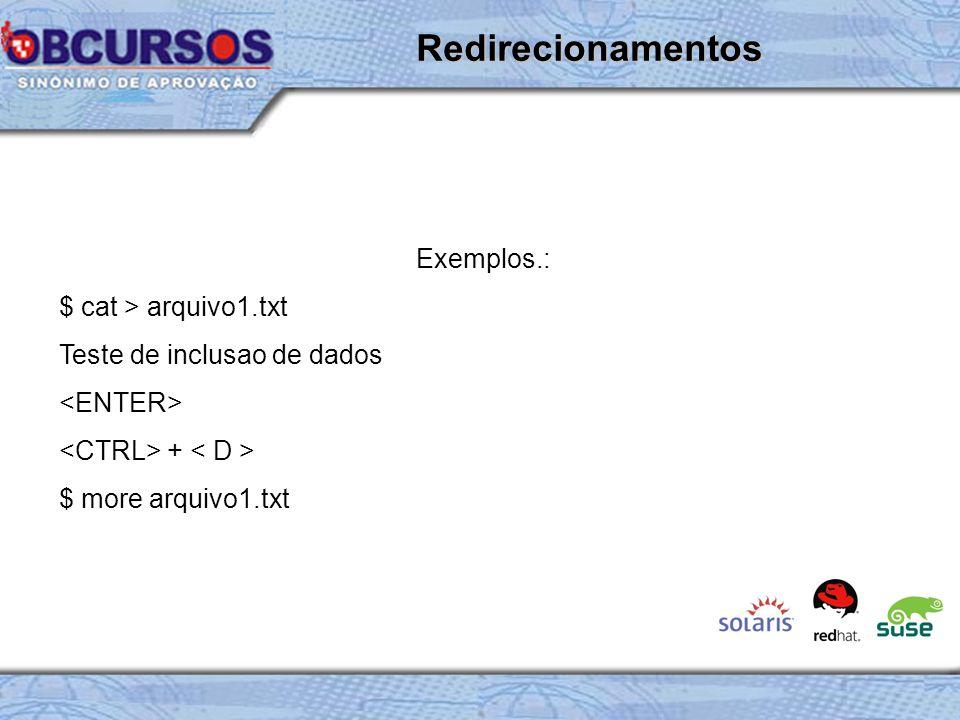 Exemplos.: $ cat > arquivo1.txt Teste de inclusao de dados + $ more arquivo1.txt Redirecionamentos