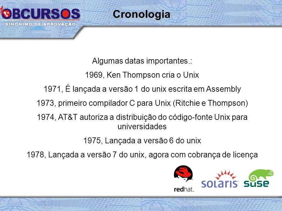 Algumas datas importantes.: 1969, Ken Thompson cria o Unix 1971, É lançada a versão 1 do unix escrita em Assembly 1973, primeiro compilador C para Unix (Ritchie e Thompson) 1974, AT&T autoriza a distribuição do código-fonte Unix para universidades 1975, Lançada a versão 6 do unix 1978, Lançada a versão 7 do unix, agora com cobrança de licença Cronologia