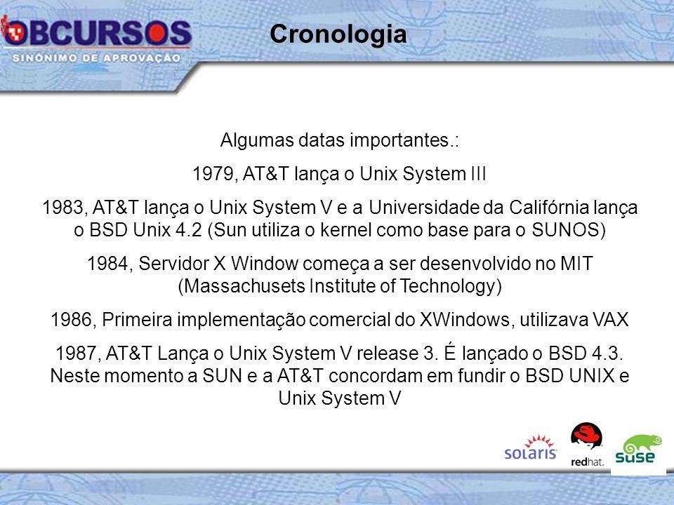 Algumas datas importantes.: 1979, AT&T lança o Unix System III 1983, AT&T lança o Unix System V e a Universidade da Califórnia lança o BSD Unix 4.2 (Sun utiliza o kernel como base para o SUNOS) 1984, Servidor X Window começa a ser desenvolvido no MIT (Massachusets Institute of Technology) 1986, Primeira implementação comercial do XWindows, utilizava VAX 1987, AT&T Lança o Unix System V release 3.