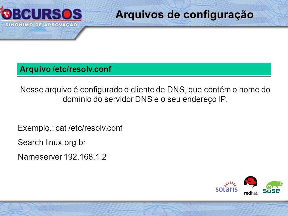 Arquivo /etc/resolv.conf Nesse arquivo é configurado o cliente de DNS, que contém o nome do domínio do servidor DNS e o seu endereço IP.