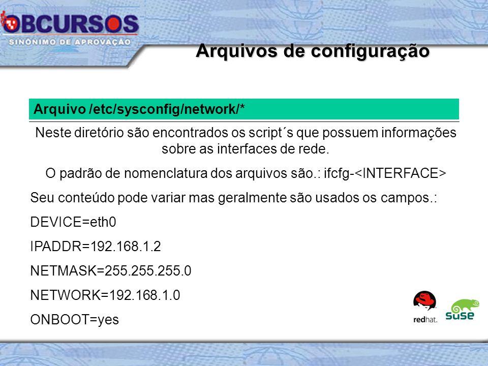 Arquivo /etc/sysconfig/network/* Neste diretório são encontrados os script´s que possuem informações sobre as interfaces de rede.