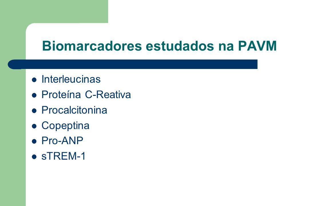 Biomarcadores estudados na PAVM Interleucinas Proteína C-Reativa Procalcitonina Copeptina Pro-ANP sTREM-1