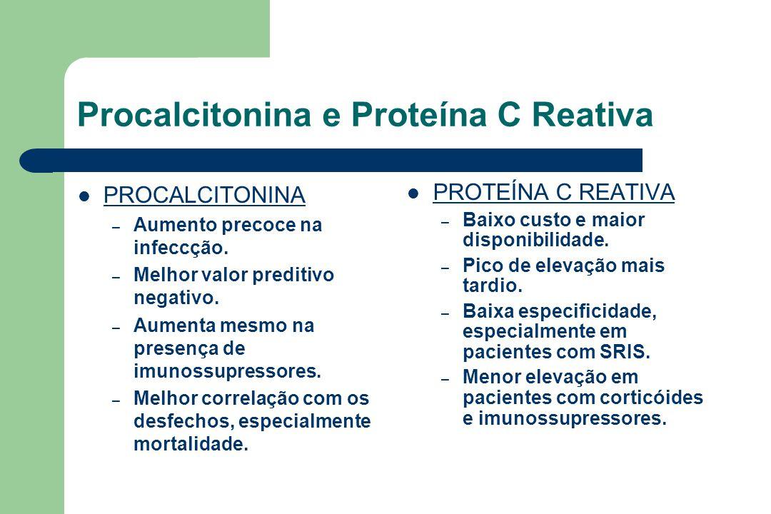 Procalcitonina e Proteína C Reativa PROCALCITONINA – Aumento precoce na infeccção.