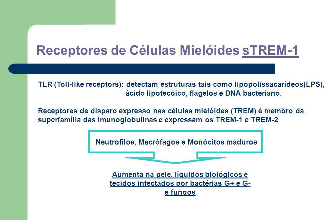 Receptores de Células Mielóides sTREM-1 TLR (Toll-like receptors): detectam estruturas tais como lipopolissacarídeos(LPS), ácido lipotecóico, flagelos e DNA bacteriano.
