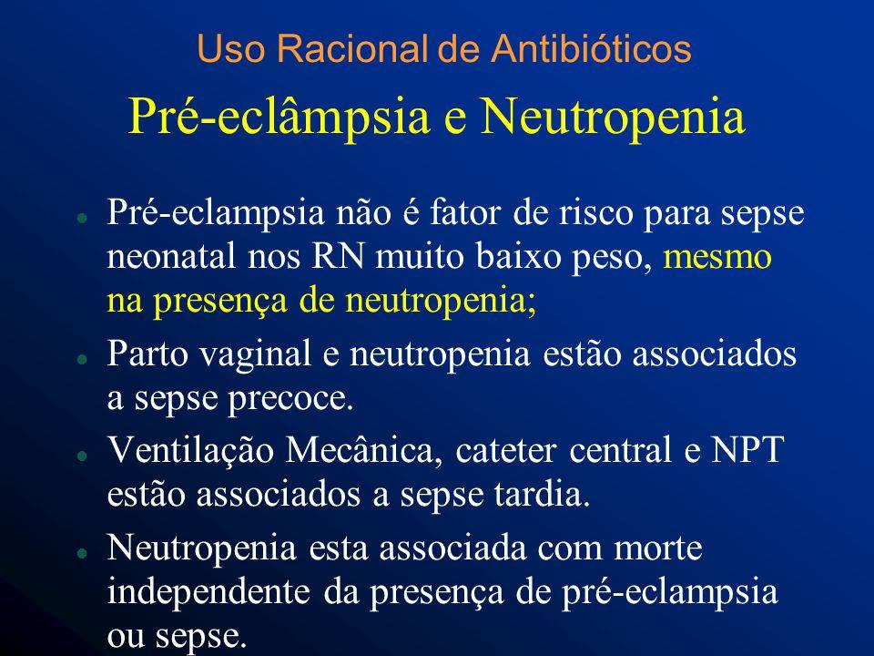 Pré-eclâmpsia e Neutropenia Pré-eclampsia não é fator de risco para sepse neonatal nos RN muito baixo peso, mesmo na presença de neutropenia; Parto vaginal e neutropenia estão associados a sepse precoce.