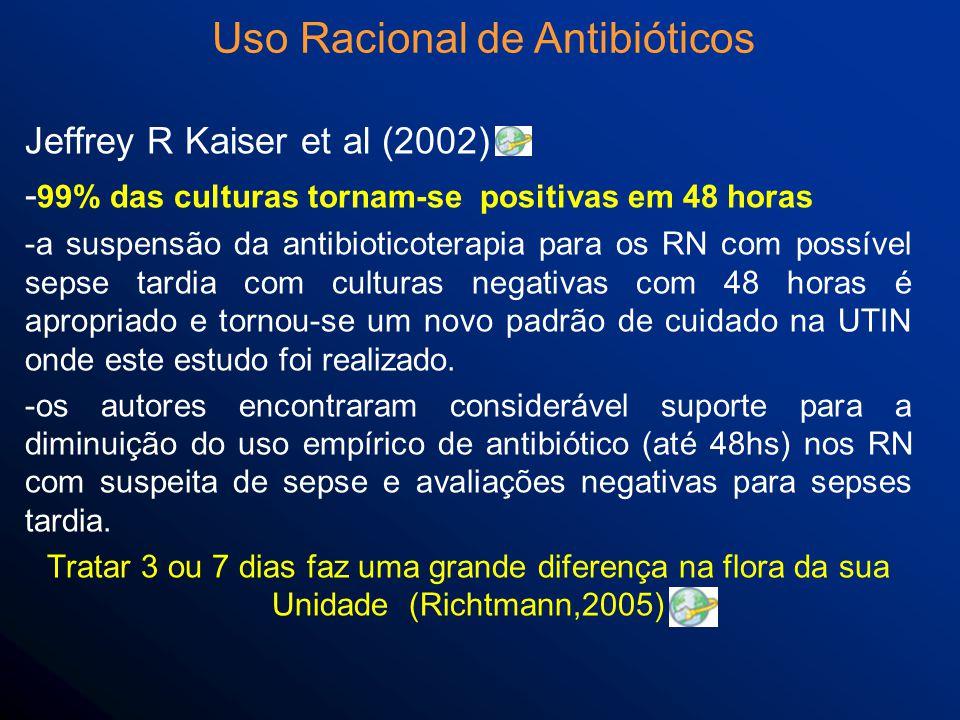 Jeffrey R Kaiser et al (2002) - 99% das culturas tornam-se positivas em 48 horas -a suspensão da antibioticoterapia para os RN com possível sepse tardia com culturas negativas com 48 horas é apropriado e tornou-se um novo padrão de cuidado na UTIN onde este estudo foi realizado.