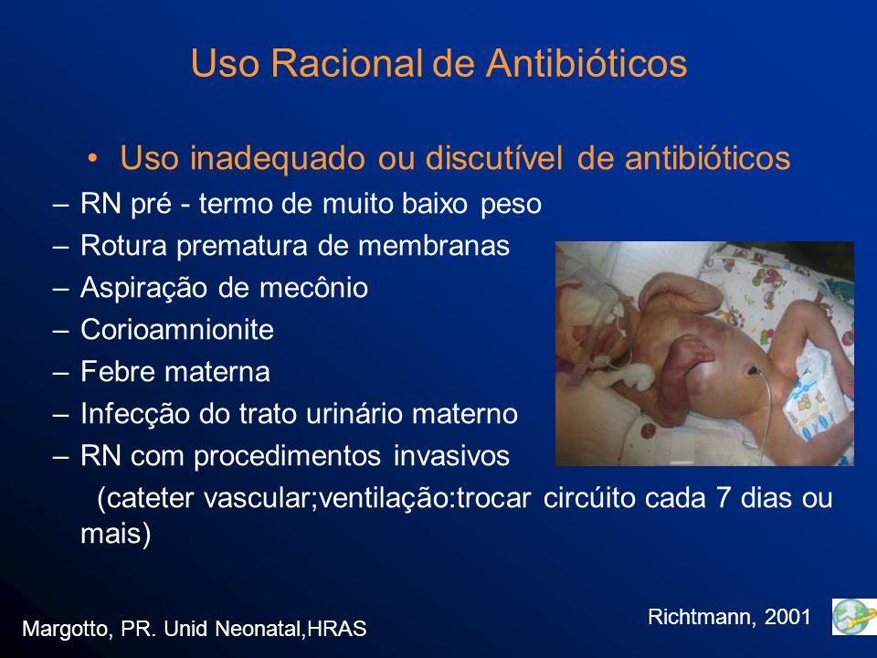 Uso Racional de Antibióticos Sepses tardia > 72 h Germes: –Enterobactérias gram - negativas (origem hospitalar) Enterobacter sp Klebsiella sp:34%-produtoras de betalactamase Citrobacter sp E.