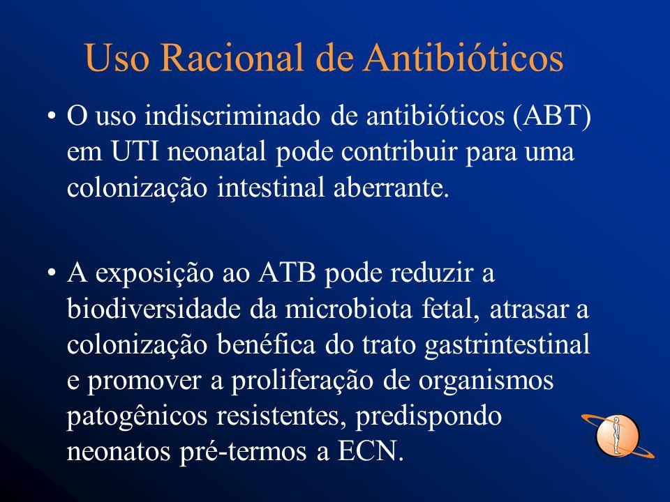 O uso indiscriminado de antibióticos (ABT) em UTI neonatal pode contribuir para uma colonização intestinal aberrante.