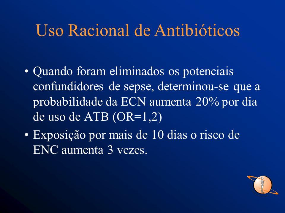Quando foram eliminados os potenciais confundidores de sepse, determinou-se que a probabilidade da ECN aumenta 20% por dia de uso de ATB (OR=1,2) Exposição por mais de 10 dias o risco de ENC aumenta 3 vezes.
