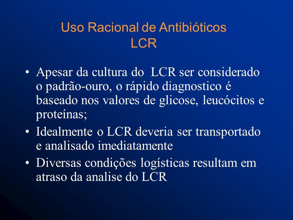 Apesar da cultura do LCR ser considerado o padrão-ouro, o rápido diagnostico é baseado nos valores de glicose, leucócitos e proteínas; Idealmente o LCR deveria ser transportado e analisado imediatamente Diversas condições logísticas resultam em atraso da analise do LCR Uso Racional de Antibióticos LCR