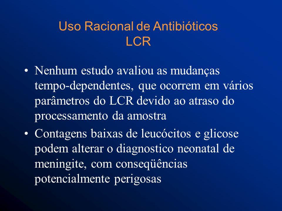 Nenhum estudo avaliou as mudanças tempo-dependentes, que ocorrem em vários parâmetros do LCR devido ao atraso do processamento da amostra Contagens baixas de leucócitos e glicose podem alterar o diagnostico neonatal de meningite, com conseqüências potencialmente perigosas Uso Racional de Antibióticos LCR