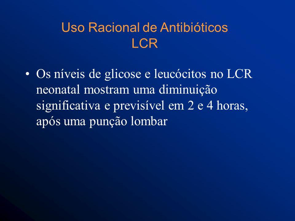 Os níveis de glicose e leucócitos no LCR neonatal mostram uma diminuição significativa e previsível em 2 e 4 horas, após uma punção lombar Uso Racional de Antibióticos LCR