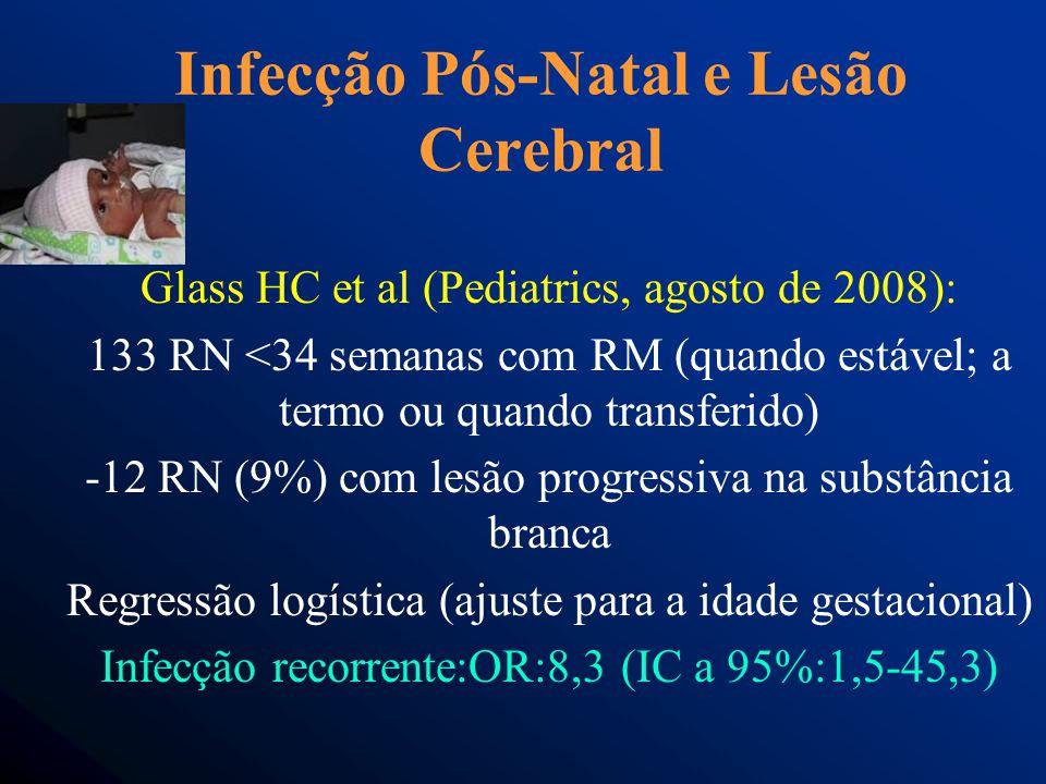 Infecção Pós-Natal e Lesão Cerebral Glass HC et al (Pediatrics, agosto de 2008): 133 RN <34 semanas com RM (quando estável; a termo ou quando transferido) -12 RN (9%) com lesão progressiva na substância branca Regressão logística (ajuste para a idade gestacional) Infecção recorrente:OR:8,3 (IC a 95%:1,5-45,3)