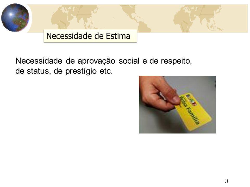 11 AULA 5 Necessidade de Estima Necessidade de aprovação social e de respeito, de status, de prestígio etc.